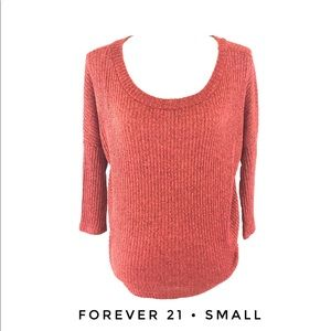 Forever 21 Small Red Sweater 3/4 Sleeves Scoop
